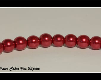 Set of 50 8mm red glass beads