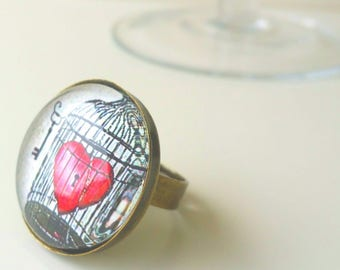 ring # love # cabochon caged retro vintage style