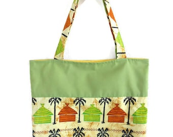 Bag, tote bag, yellow African fabric