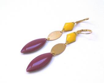 SHIVA - Golden yellow and pink enamel earrings raspberry
