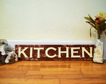 Red Rustic Kitchen Sign, hand painted, customize yourself to fit your kitchen