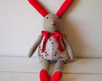 Rabbit in linen blend and cotton fabric