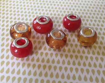 handmade 6 x Lampwork European beads