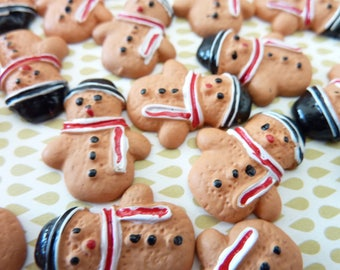 Sold by 2: gingerbread snowman shaped resin Cabochon