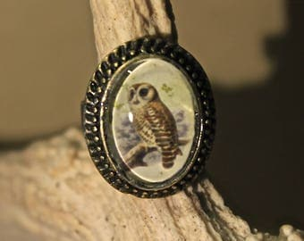 "Small bronze Steampunk Adjustable ring retro vintage ""La Chouette"""