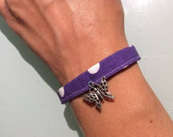 Purple bracelet with butterfly charm