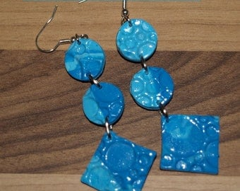 """""""Under the sea"""" earrings in shades of blue"""