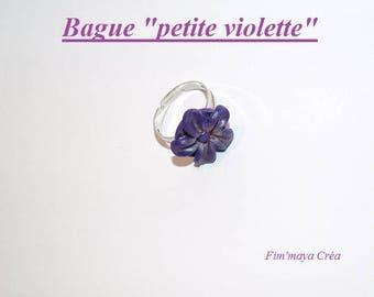 """""""Little violet"""" adjustable flower ring polymer clay"""