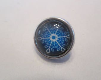 x 1 Snap - button 12mm - snowflake snow - model 6 - Silver
