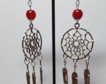 Dream catcher earrings red dreams