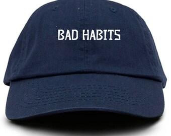 Bad Habits Dad Hat Adjustable Baseball Cap New - Navy