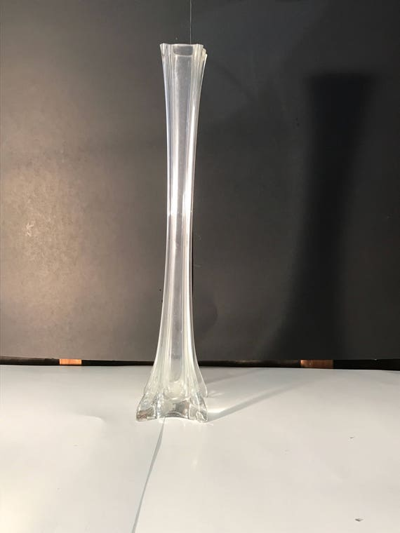 Hand Made 16 Inch Clear Eiffel Tower Vase Square 12 Pack