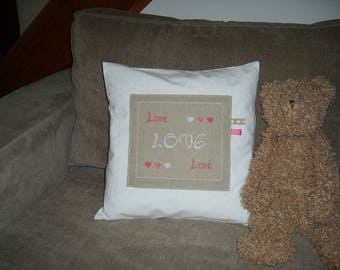 """""""LOVE"""" pillow cover with hand made cross stitch Embroidery"""