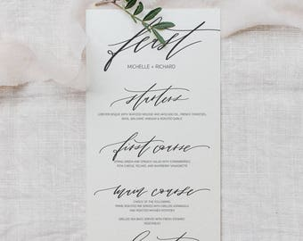 modern calligraphy wedding menu - custom calligraphy menu - custom menu - printable menu