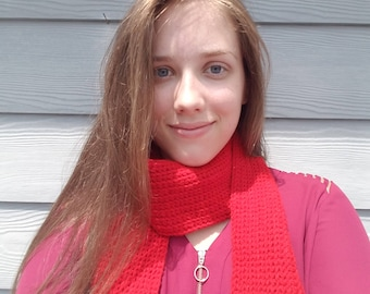 Knitted Scarf- Cherry Red