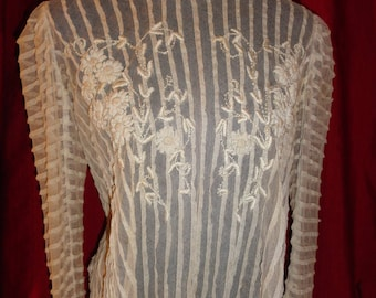 Vintage Antique Early 1900's Blouse White Very Unique Net Material