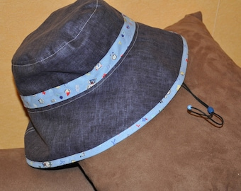 Girls blue denim and multicolored Plaid rain hat
