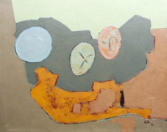 Masks, composition. Oil on canvas and frame
