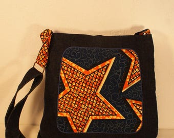 Bag of denim and blue African fabric