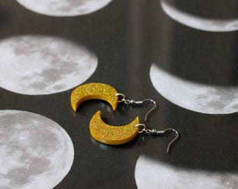 """""""Moons"""" yellow glitter acrylic earrings"""