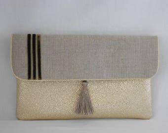 evening clutch/pouch / / wedding/clutch suede/faux glitter gold