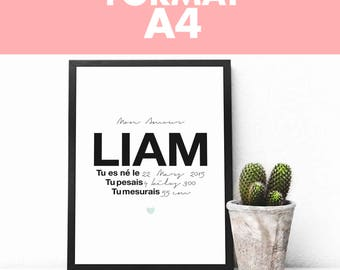 Print full customization - Name + date of birth & weight and size (A4 size: 21 x 29.7 cm)