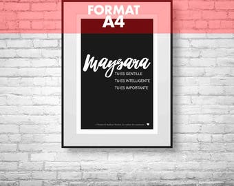 Personalized name - A4 size poster: 21 x 29.7 cm