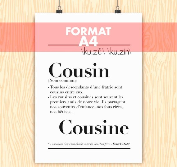 Poster definition cousincousin a4 format 21 x like this item stopboris Image collections