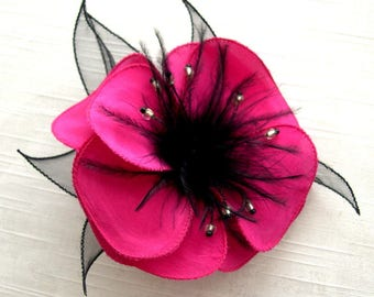 Flower brooch made of silk and organza, feathers and beads