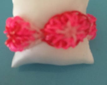 Flower elastic rainbow loom band bracelet