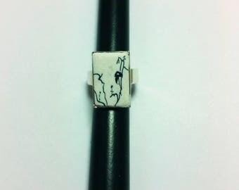 Ring Japanese mountain spirit ink drawing, rectangular 1 cm