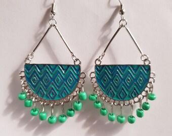 Enamel and green beads chandelier earrings