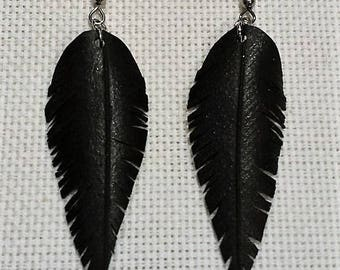 Recycled inner tube feather earrings