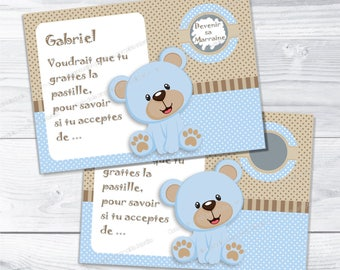 Godmother baptism request card scratch blue bear - christening