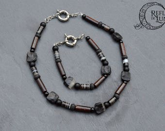 Adornment for men, onyx, wood and lava stone • set of January