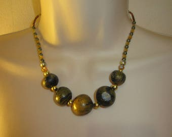 Necklace dark blue and gold