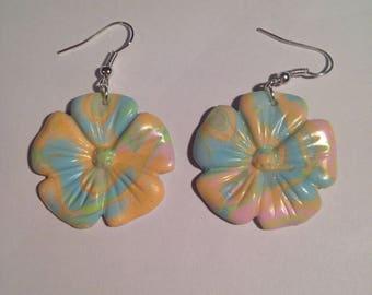 Pastel multicolor flower polymer clay earrings