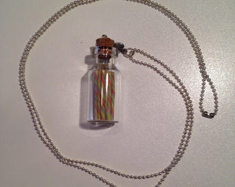 """Fimo necklace """"Vial cane has sugar"""""""