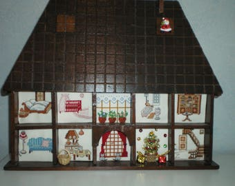 wooden house ask or suspend background embroidery in each drawer