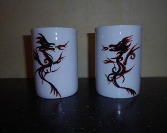 set of 2 mugs right red & black dragon hand painted porcelain