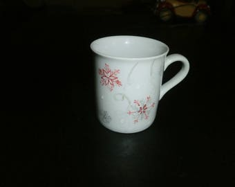 porcelain mug painted snowflake in custom colors available