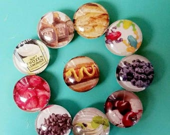 Set of 10! Strong 1 inch magnets. Mini food set