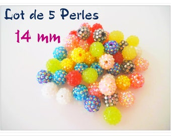 Set of 5 beads 14 mm multicolored acrylic shiny faceted
