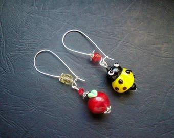 Apple Red Ladybug earrings yellow
