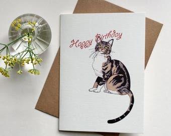 Cat, Birthday Card, Greeting Card, Cute, Sweet, Charming, Cat Lover, Happy Birthday