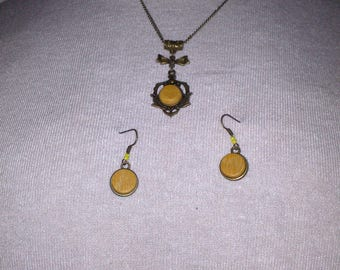 Set necklace + earrings Difou wood