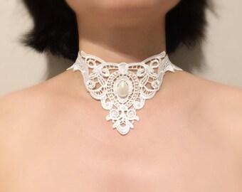 crew neck lace and pearls white romantic wedding/ceremony