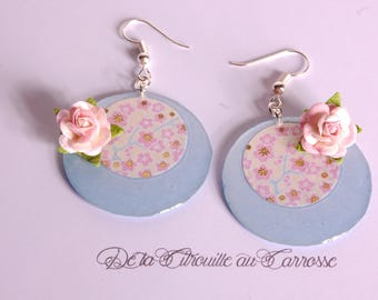 Japanese, pastel blue and yellow floral earrings