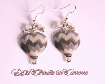 Hot air balloon, tricolor, Silver Bow earrings