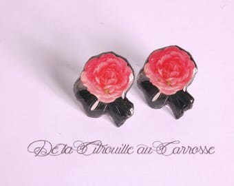 Romantic, pink and black flower ear studs